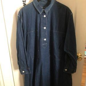Gap Dark Denim Oversized Shirt Dress